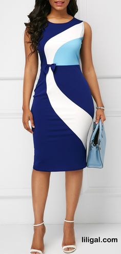 Round Neck Printed Sleeveless Bowknot Detail Sheath Dress #liligal #dresses #womenswear #womensfashion