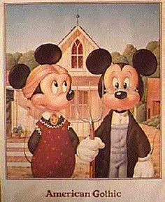 Mickey and Minnie Gothic American Gothic Painting, American Gothic House, Grant Wood American Gothic, American Gothic Parody, American Art, Mickey Mouse Photos, Mickey Minnie Mouse, Deviant Art, Disney Style
