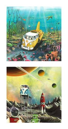 Some great examples of Dale Bowen's surreal, fun and vibrant pieces that he's known for.