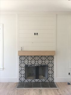 Cement tile fireplace surround with shiplap fireplace. Nashville, tn. Superior develipment