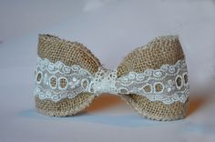 Burlap wedding Hair Piece burlap lace wedding by abushelandapeck1, $10.50