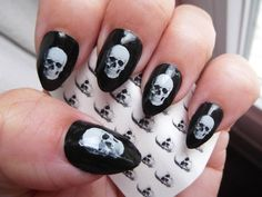 White SKULL Nail Art Decals (SKU) 35 Realistic looking Skulls - Nice on Black Waterslide Pirate Nail Stickers, Works over any color polish Skull Nail Art, Skull Nails, Ceramic Pendant, Ceramic Jewelry, Nail Decals, Nail Stickers, Pirate Nails, Gothic Nail Art, Clear Nails