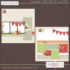 Here are 2 12x12 templates that were created by me that coordinate with my Love You Forever collection. These templates come in PSD, TIF, PNG and PAGE files and are ok for CU and PU, as well as CT friendly!! Unless otherwise noted- -My papers are created at 300dpi and are 12x12 in size, JPG format -My elements are created at 300 dpi, PNG format, quality checked, trimmed and jaggy free -Template packs include: -layered PSD files -individual layers in PNG format -TIF and PAGE files -are…