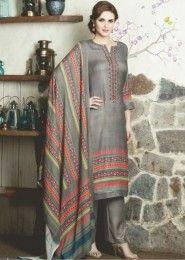 Gray Regular Wear Salwar Suits Catalog