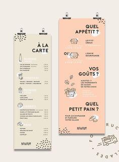 Création de l'identité visuelle d'un foodtruck proposant des salades à composer.Ici on mange vite et bien et les produits sont originaires de producteurs locaux et faits maison.Le but est l'association de saveurs, et que chacun puisse composer la salad…