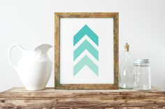 Abstract Wall Art, Unique Gift Ideas, Chevrons Wall Art, Mint And White Art, Nordic Wall Art, Minimalist Wall Art, Gallery Wall Art- PT0270 by ShabbyShackStudio on Etsy