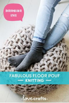 This arm knit floor pouf pattern will make any home feel chic! | Downloadable PDF at LoveCrafts.com