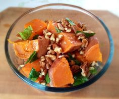 A great post workout snack! Single serving sweet potato salad with pecans, easily converted into a delicious party fare.  http://stalkerville.net/ #paleo #whole30