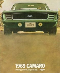 "To suggest a road-grabbing stance, all 1969 Camaros were ""huggers."" The SS on this brouchure cover combines the hidden-headlamp Rally Sport package with the optional body-color front bumper to fine effect."
