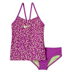 af10325ce A colorful leopard print makes this girls  Nike tankini eye-catchingly  cool. Vigkids Moda infantil