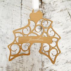 Personalised Hanging Holly Christmas Decoration Add a twist to the holiday season with a personalised decoration! This Hanging Holly decoration is the perfect gift for your loved ones. Send a special message with our personalisation option (max 35  http://www.MightGet.com/january-2017-13/personalised-hanging-holly-christmas-decoration.asp