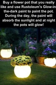 Night light flower pots, perfect for a magical fairy garden. Night light flower pots, perfect for a magical fairy garden. Outdoor Projects, Garden Projects, Outdoor Decor, Outdoor Lighting, Outdoor Benches, Outdoor Pots, Backyard Lighting, Outdoor Spaces, Diy Projects