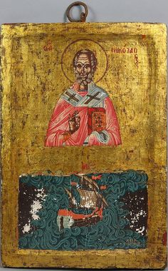 Greek Icon of St. Nicholas - by Kaminski Auctions Greek Icons, Santa Pictures, Best Icons, Religious Icons, Bari, Vintage World Maps, Auction, Paintings, Saints