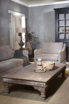 This coffee table. Perfect color for my living room. Living Spaces, Living Room, Interior Decorating, Interior Design, Gray Interior, Decorating Ideas, Home And Deco, Rustic Interiors, Home And Living