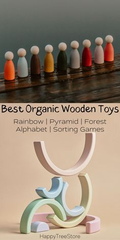 Best Rainbow Organic Wooden Baby Toys by HappyTreeStore. Montessori Rainbow   Pyramid   Forest   Alphabet   Sorting Games. Waldorf and Educational wooden toys is the best gift for toddlers. Our toys are made of environmentally eco-friendly materials for kids of any age #kidstoy #education