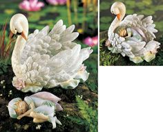 image+swan+for+fairy+garden | Details about Majestic Swan Lake Fantasy w/ Sleeping Fairy Garden ...