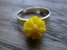 Yellow Adjustable Flower Ring  Floral Jewelry  by MinsBoutique, $7.00
