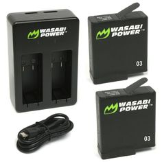 Wasabi Power Battery (2-Pack) & Dual Charger for GoPro HERO5, HERO 5 Black (v03 for Firmware v01.55, v01.57 and All Future Updates)