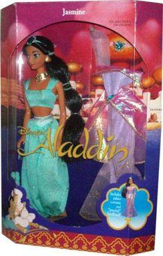 "Disney's Year 1992 Aladdin Movie Series 12 Inch Doll - Princess Jasmine with Harem Pants, Top, ""Jeweled"" Headband, Palace Costume, ""Jeweled"" Headdress, Necklace, Shoe and Hairbrush Aladdin,http://www.amazon.com/dp/B0028QOERE/ref=cm_sw_r_pi_dp_BQ69sb1RKKZBTVGX"