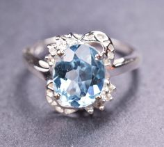 Blue Topaz sterling silver ring gemstone ring by JubileJewel, $60.00