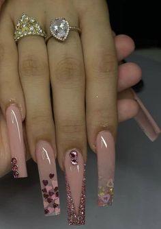 Classy Acrylic Nails, Acrylic Nails Coffin Pink, Long Square Acrylic Nails, Coffin Nails, Dope Nail Designs, Cute Acrylic Nail Designs, Acryl Nails, Glow Nails, Luxury Nails