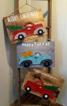 String Art/vintage truck/ christmas decor/fall decor/crafts