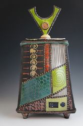 """Daniel Oliver Ceramics, Urn Series - """"I hand build my work. It gives me freedom to create my pieces. I begin with a slab or extruded piece of clay, add textures on the surface then shape my forms until I am pleased with what I see. I mostly do Raku firing which gives my work an earthy look. I brush, stamp or trail glaze my designs."""" Urn Series - $1200.00"""