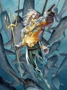 Original Comic Art titled Aquaman - Daniel Govar, located in Anthony's The Justice League Comic Art Gallery Aquaman Dc Comics, Arte Dc Comics, Fun Comics, Aquaman 2018, Comic Book Characters, Comic Character, Comic Books Art, Comic Art, Marvel Vs