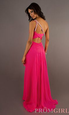 Long One Shoulder Pink Dress at PromGirl.com