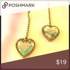 """""""fly with me"""" vintage drop heart earrings They say """"fly with me"""" on them. Perfect for adding a romantic, vintage flair to any outfit Betsey Johnson Jewelry Earrings"""