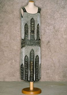 Silver and black beaded and sequined evening dress, probably European, 1923. Worn by Mae West. Tirelli Trappetti Foundation.