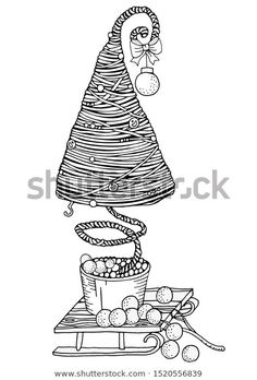 Christmas Tree Winter Snow Happy New Stock Vector (Royalty Free) 1520556839 Christmas And New Year, Christmas Tree, Zen Art, Coloring Book Pages, Zentangles, Winter Snow, Happy New, Create Yourself, Art Ideas