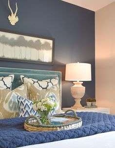 Simple Tips For Guest Room Readiness in this Gorgeous Navy and Aqua Guest Bedroo Modern Master Bedroom, Trendy Bedroom, Home Bedroom, Baby Bedroom, Guest Bedroom Decor, Guest Bedrooms, Bedroom Ideas, Bedroom Makeovers, Master Bedrooms