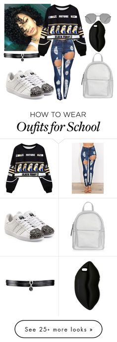 """school"" by fashionxx1 on Polyvore featuring Chicnova Fashion, adidas Originals, New Look, Elizabeth and James, STELLA McCARTNEY and Fallon"
