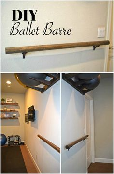 Click to see how to make and install a Ballet Barre for around $20.  You don't need much space and it is a great addition to a work out room.