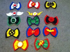 Super Hero hair bows :) Aunt Mikayla will need these to play dress up with Baby B. :)
