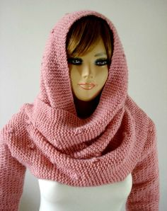KNITTING PATTERN HOOD with sleeves  Celine by LiliaCraftParty