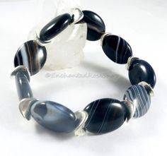 Black Banded Agate Beaded Bracelet Boho Chic by EnchantedRoseShop