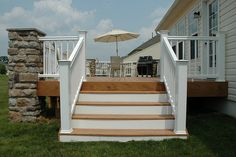 white and wood deck – nice colors and width of steps