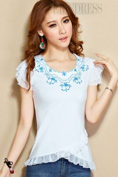 Fashion Flower-shaped Sleeves Design Round-Neck T-shirts For Women T-shirts