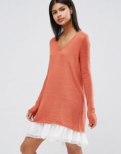 ASOS | ASOS Premium Jumper Dress in Mohair with Woven Hem