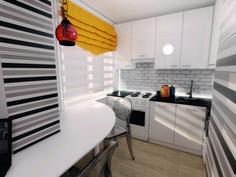 Двухкомнатная «хрущевка»: кухня, совмещенная с гостиной, поп-арт