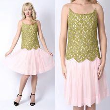 Vtg 70s Pink Green Boho Dress Floral Lace Scalloped Sheer Pleat Color Block S