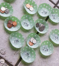 Counting Money - Using cupcake liners for math can be an easy way to prepare a new activity! This counting money game looks like fun, plus there are other suggestions for using the same format! Math For Kids, Fun Math, Math Activities, Maths Games Ks1, Math Art, Vocational Activities, Activities For 6 Year Olds, Back To School Crafts For Kids, Easy Math