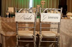 Wedding Signs Bride and Groom with Thank You on the back,Chair Signs by OurHobbyToYourHome