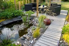 pergola with seating area, wooden walk with the sound of soothing water from the pond