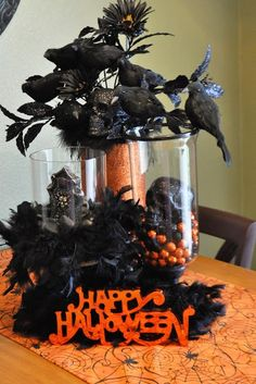 Alfred Hitchcock Table Scape, Do-It-Yourself Ghost, ghost illusion decoration, ghost wire mesh, Halloween Creepy Table Display Sign, halloween Paper Bouquet, Halloween Wreath, Orange and Black Halloween Theme Decor, Pumpkins on a Fireplace, Simple Halloween Decorating Ideas, Table Candelaria, and Table Candy Display
