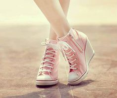 I used to have brown ones just like these I loved them so much I wore them out // #pink #shoes #wedges
