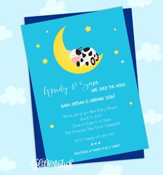 Cow jumped over the moon nursery rhyme baby by GlitterInkDesigns