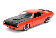 1973 Plymouth Barracuda orange 1:24 scale diecast model car by Jada. Get it now at GeekingBad for $59.95 with free shipping.